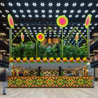 "Morag Myerscough designs ""biophilic"" cafe pavilion covered in plants and colourful tiles"