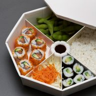 Anna Piasek makes bento-style boxes for takeaway food from moulded cellulose