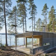 Lakeside house in Sweden is clad with pine slats to match the forest