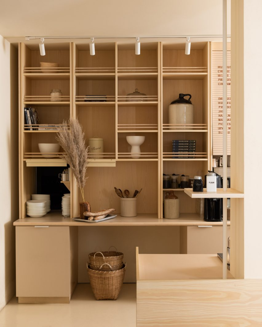 Wooden cabinet in a Shaker-style interior