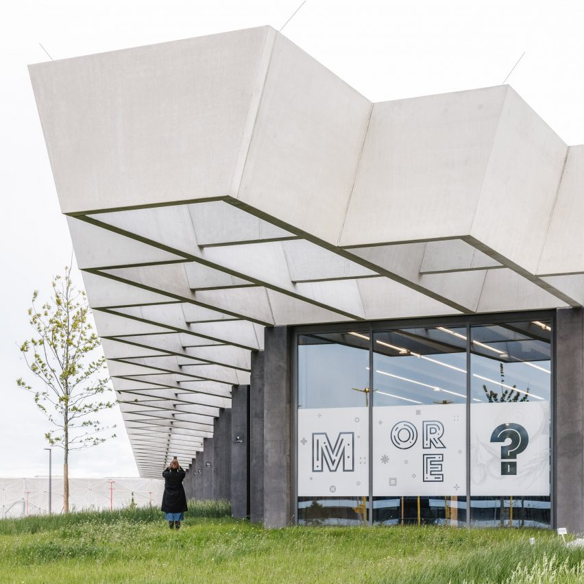 Rhomboid roof brings light into COBE's Halftime building on