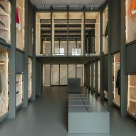 Green plywood cabinets outfit Maharishi store in New York City