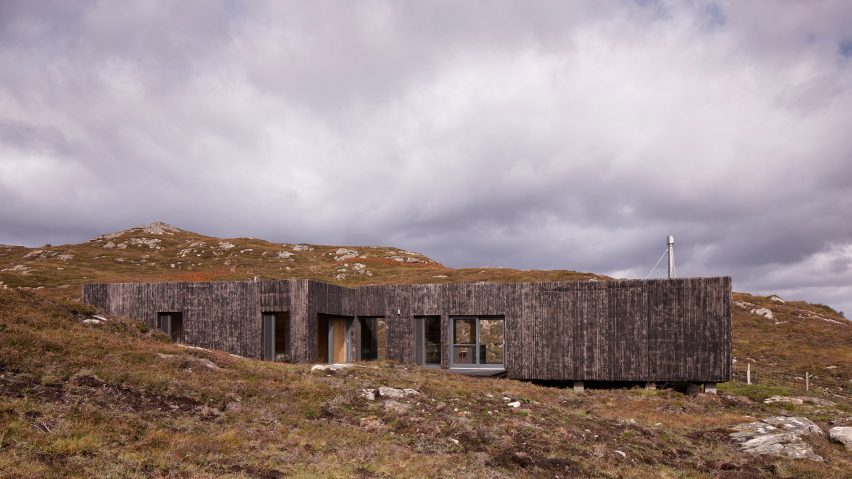 Scottish house clad in burnt larch