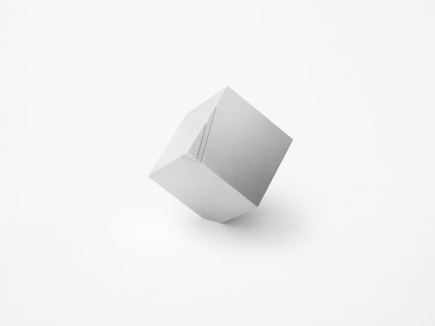 "Nendo's Cubic Clock only reveals ""its true form"" twice per day"