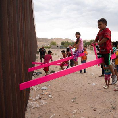 US-Mexico border wall seesaws, USA, Mexico, Rael San Fratello