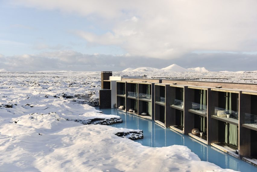 The Retreat at Blue Lagoon Iceland is a 62-room resort hotel embedded in the lava formations and turquoise geothermal pools of Iceland's Blue Lagoon complex