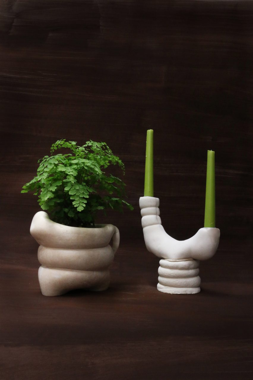 Tessa Silva creates compostable homeware from surplus milk and chalk