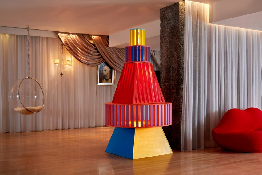 Yinka Ilori Christmas tree installation at Sanderson London hotel