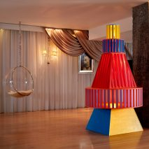 Yinka Ilori Christmas tree installation at Sanderson London hotel