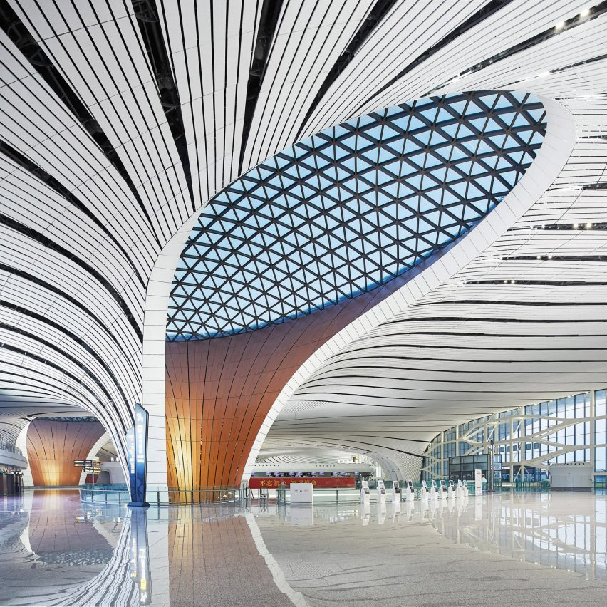 Dezeen's top 10 Chinese architecture projects of 2019: Beijing Daxing International Airport, Beijing, by Zaha Hadid Architects