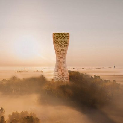 Aũra air purifying towers by Studio Symbiosis