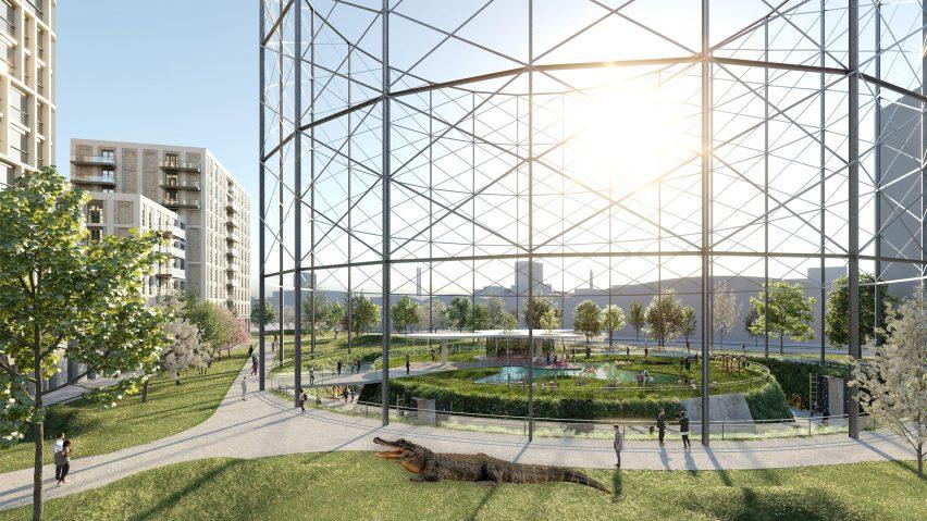 Developer proposes turning London gas holder into alligator park