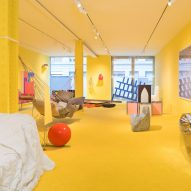 Bright yellow Friedman Benda exhibition explores comfort in furniture