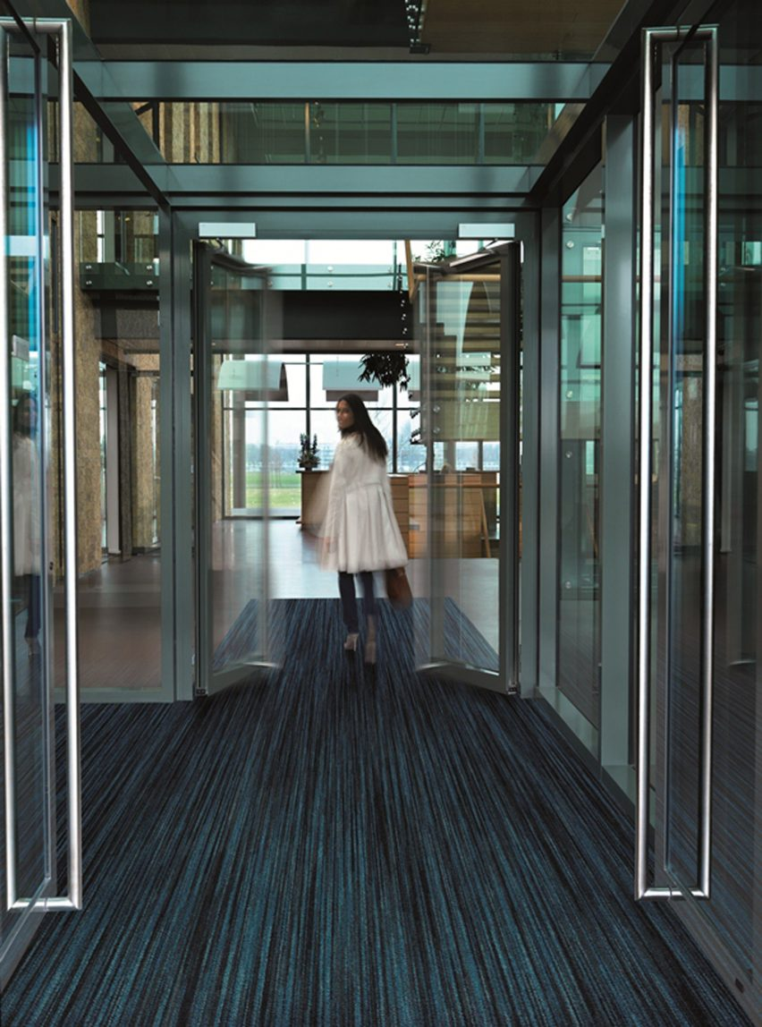 Coral flooring is made with regenerated fishing nets and PET bottles