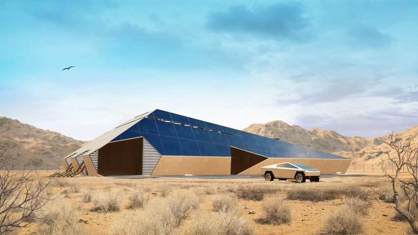 Cyberhouse designed by Modern House Architecture & Design for Cybertruck-driving apocalypse survivors
