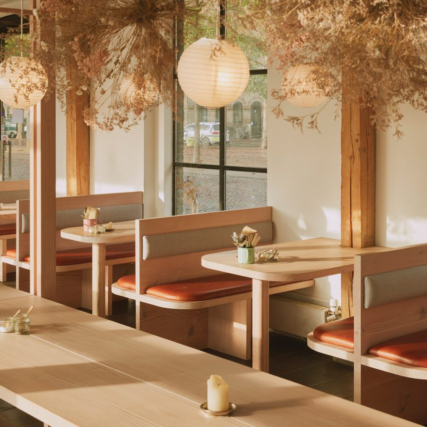 Elements inside Copenhagen restaurant Hverdagen are made from a single Douglas fir tree