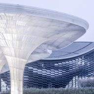 Archi-Union surrounds internet conference centre with robot-built pavilions