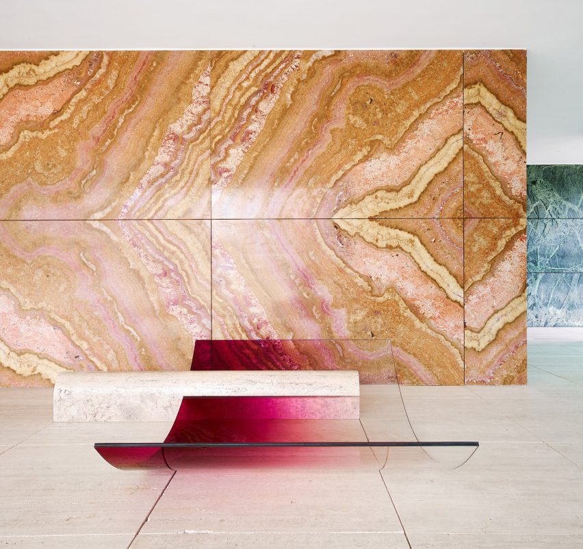 Sabine Marcelis creates installation from Barcelona Pavilion materials