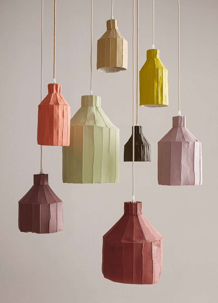 Paper clay lamps by Paola Paronetto