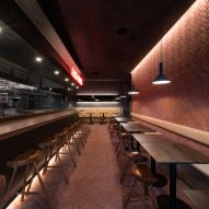 Herringbone brickwork covers Chinese restaurant The Tang in New York by New Practice Studio
