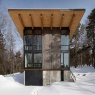 Olson Kundig tucks Vermont Cabin into wooded site in the mountains