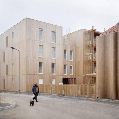 Odile Guzy Architectes' social housing scheme in Chalon-sur-Saône, France. Photo is by David Foessel