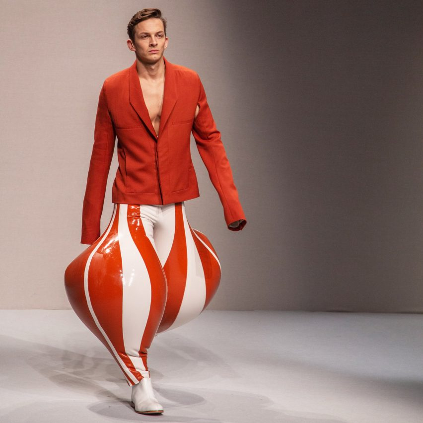 Watch runway footage of Harikrishnan's inflatable menswear collection