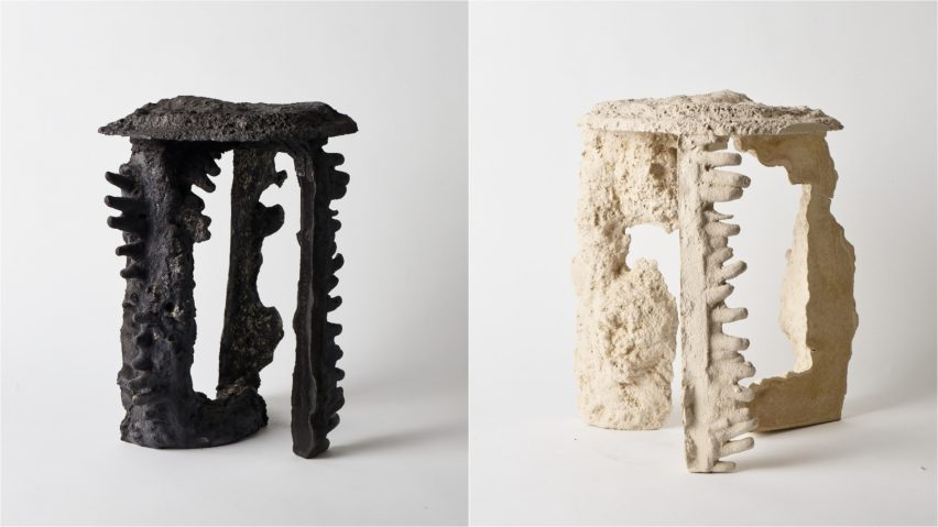 Kajsa Melchior's furniture mimics natural rock formation processes