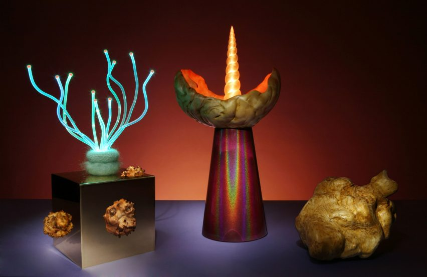 Aia Jüdes merges tree outgrowths with fibre optics for flamboyant lamps