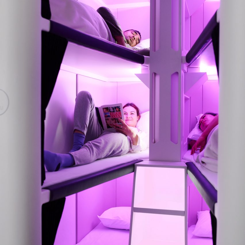 Skynest is a full-length sleeping pod for economy flyers