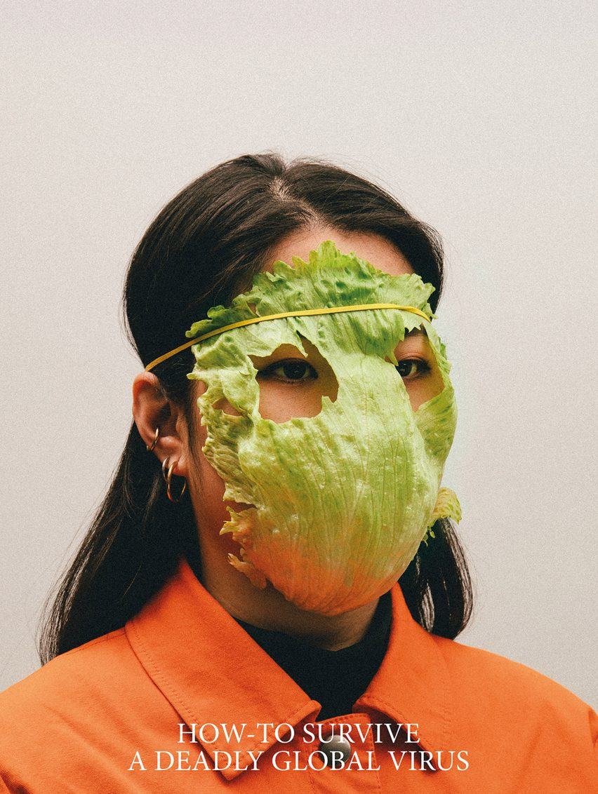 Alternative Coronavirus masks by Max Siedentopf with lettuce leaf