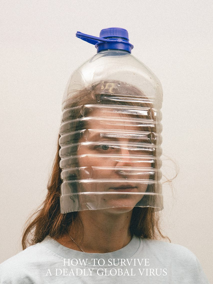 Alternative Coronavirus masks by Max Siedentopf with water bottle