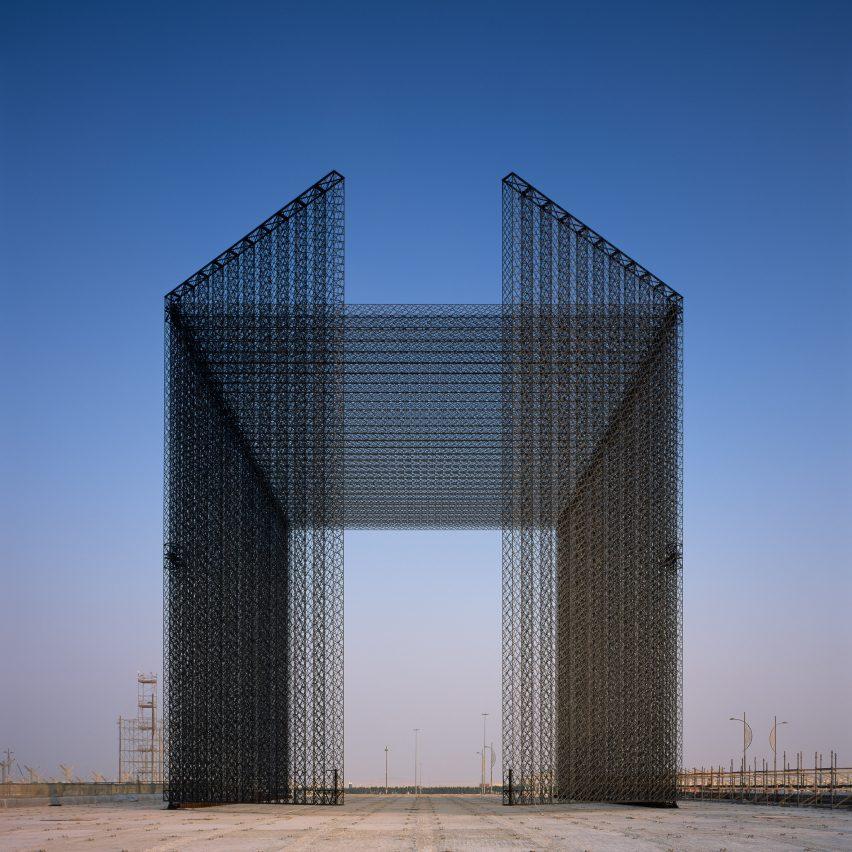 Asif Khan unveils carbon-fibre latticed gates for Dubai Expo 2020
