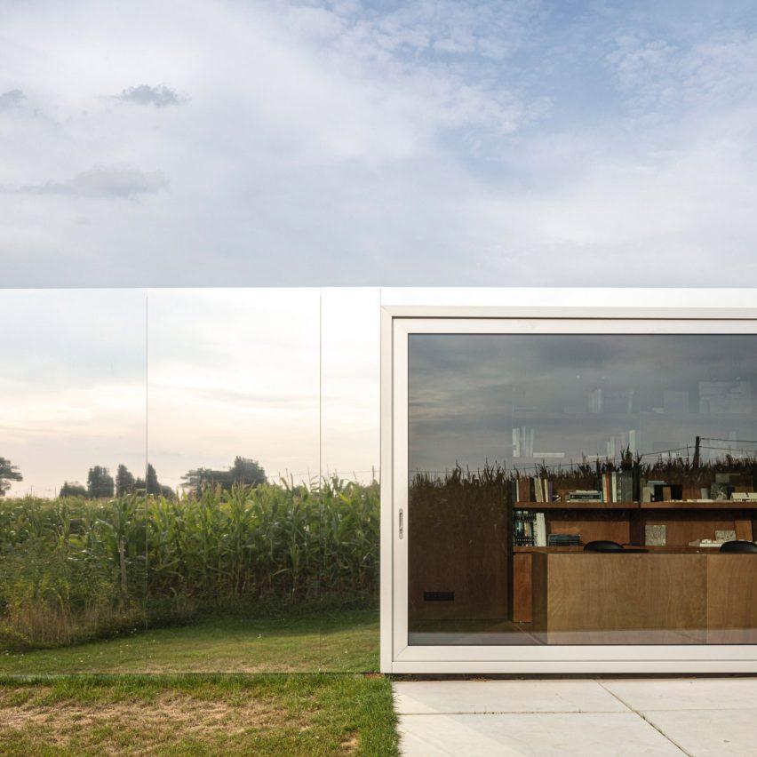 The mirrored facade of a studio in Belgium