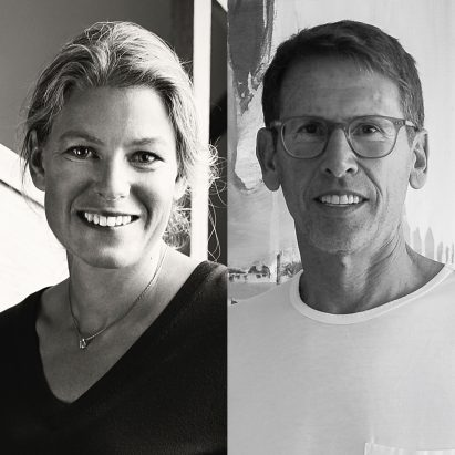 Designer Emma Olbers and Emeco CEO Gregg Buchbinder