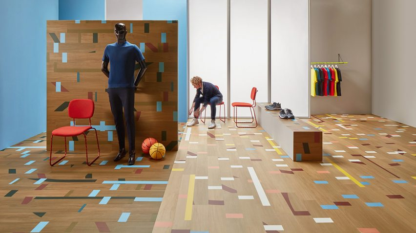 Vinyl Allura tiles mimic the look of a reclaimed gym floor