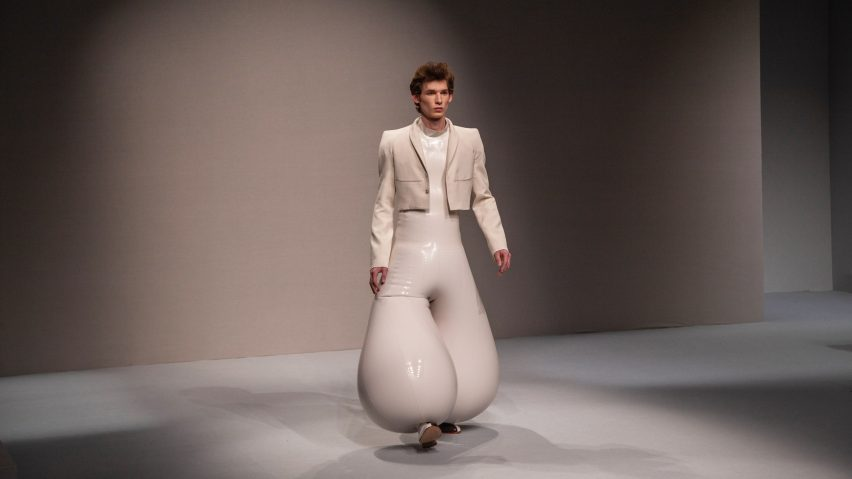 "Harikrishnan's inflatable latex fashion creates ""impossible"" proportions"