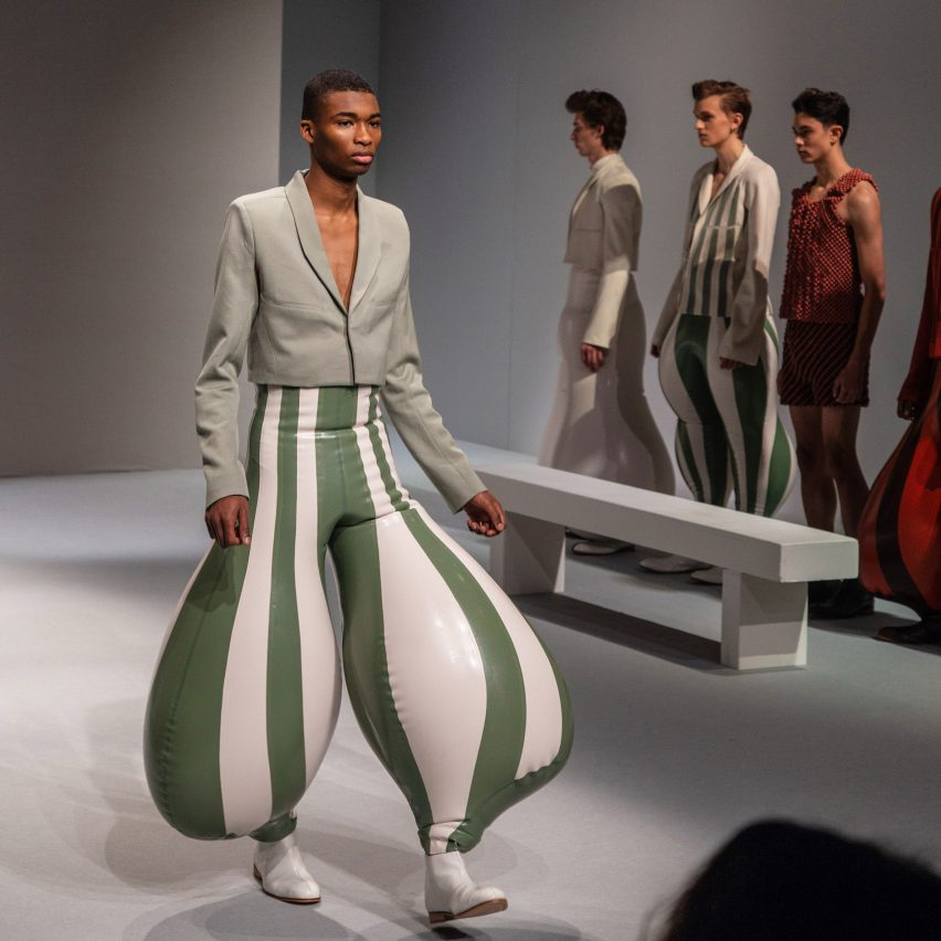 "Harikrishnan's inflatable latex trousers create ""anatomically impossible"" proportions"