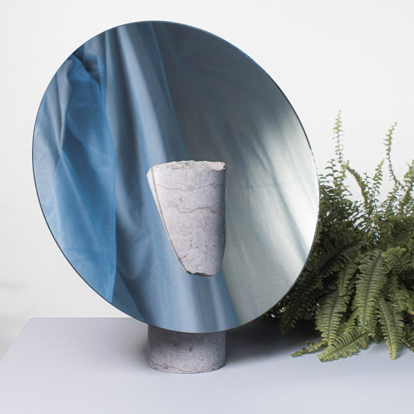Reflect mirror by Hanna-Liisa Haukka in limestone