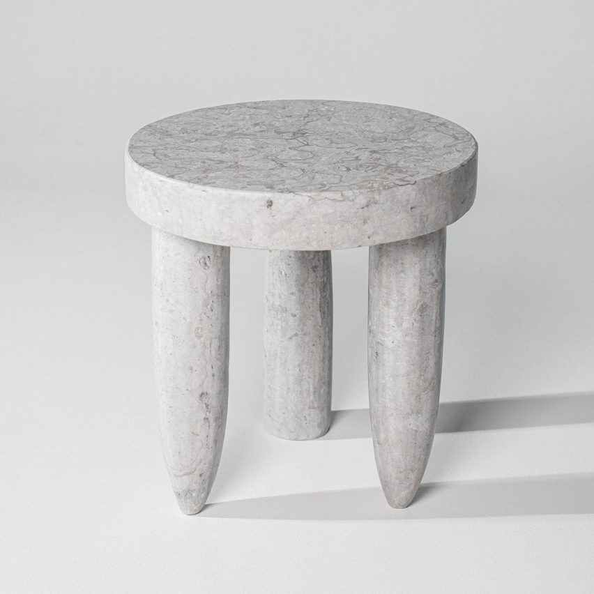 When The Shovel Hits the Stone limestone stools by Oliver Kanniste
