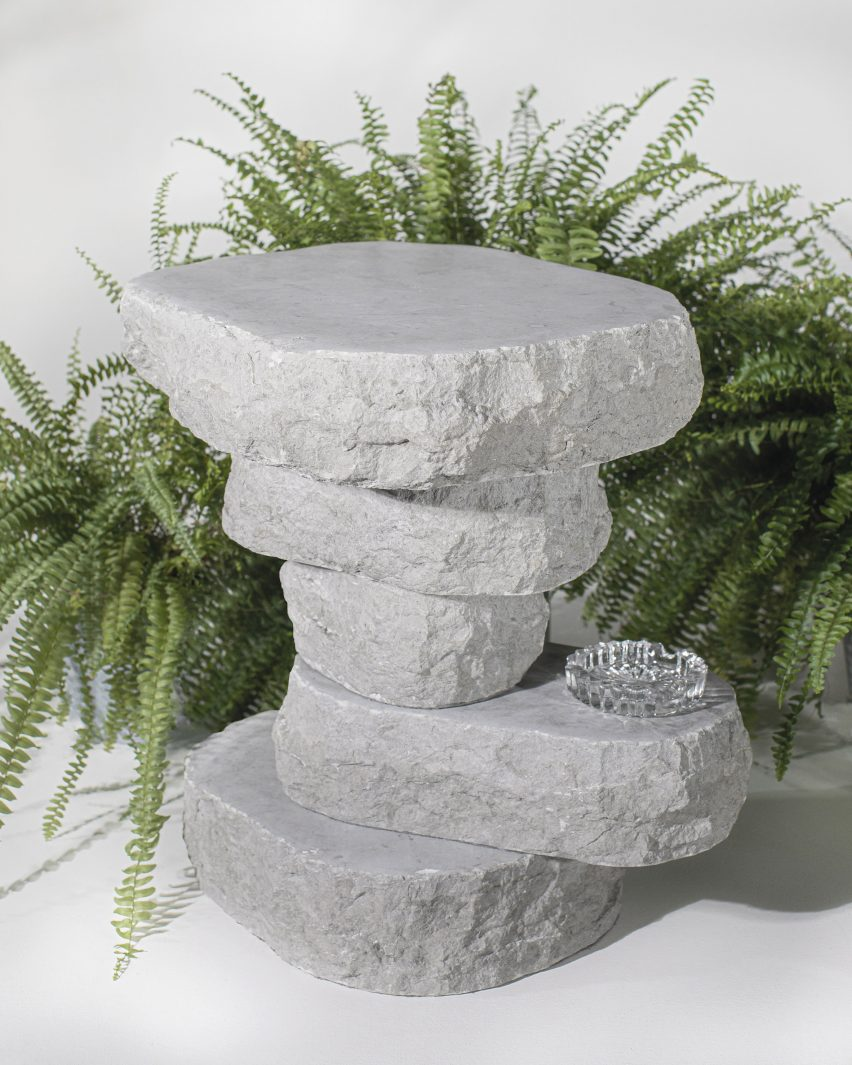 Boulder Table by Sandra Jõesaar in limestone