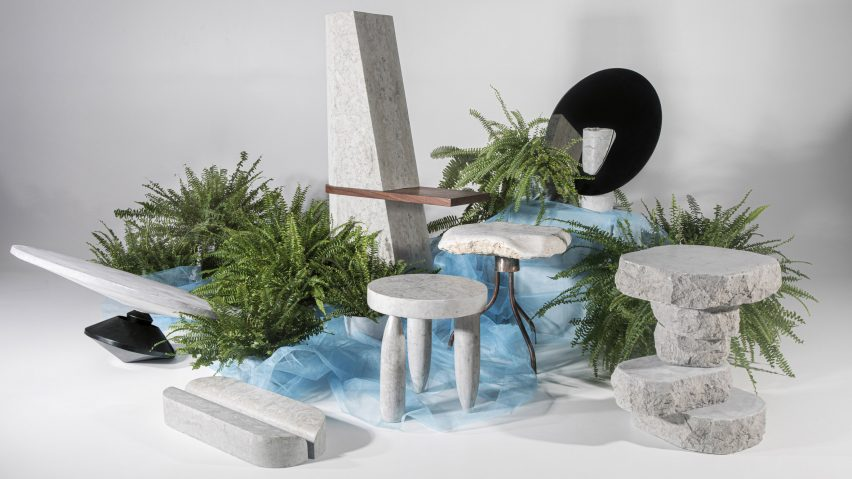 Dig Where You Stand limestone furniture by Estonian Academy of Arts students