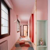 Bilbao's Mixtape Apartment has a baby-pink kitchen