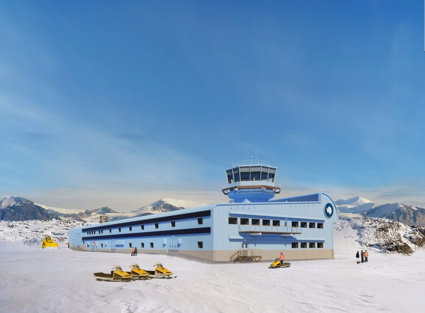 Discovery Building Antarctic research centre at the British Antarctic Survey's Rothera Research Station by London-based Hugh Broughton Architects.
