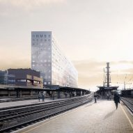 "OMA unveils ""cliff-like"" headquarters for SNCB in Brussels"