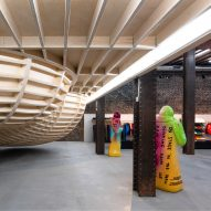 Brinkworth suspends wooden skateboarding bowl inside San Francisco's Supreme store