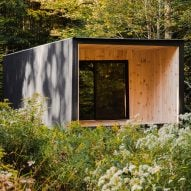 Edifice by Marc Thorpe is a black off-the-grid cabin in Upstate New York