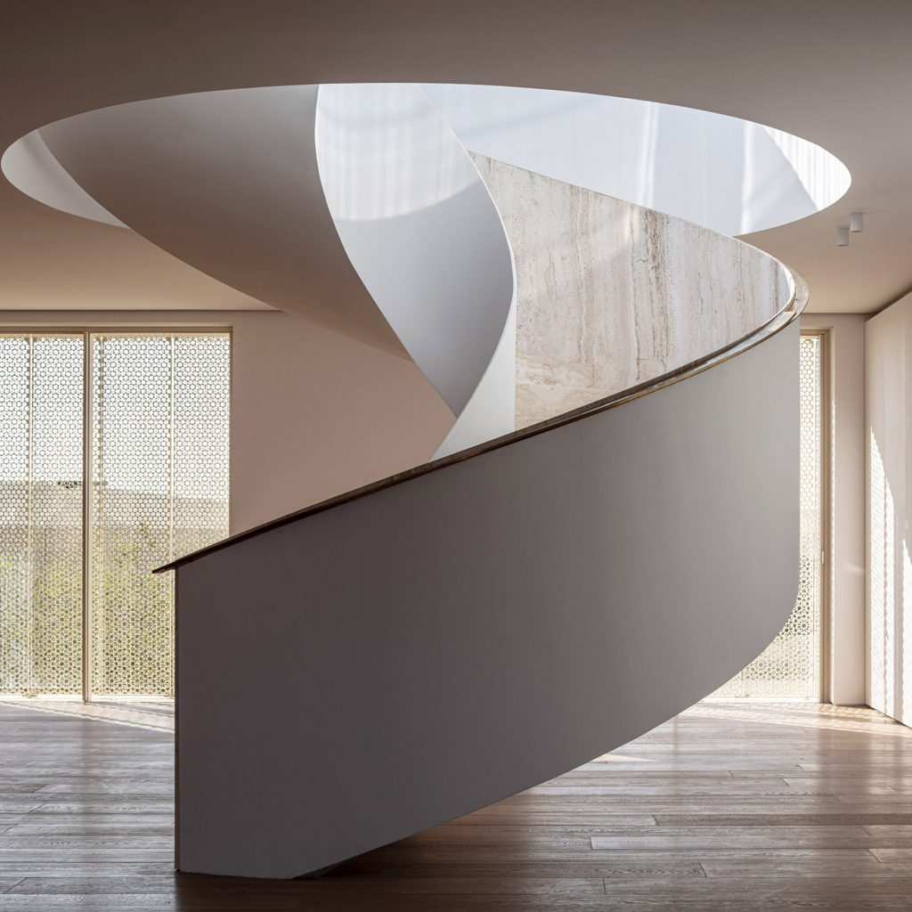 Spiral stair twists up to rooftop of penthouse at Pawson's The Jaffa hotel