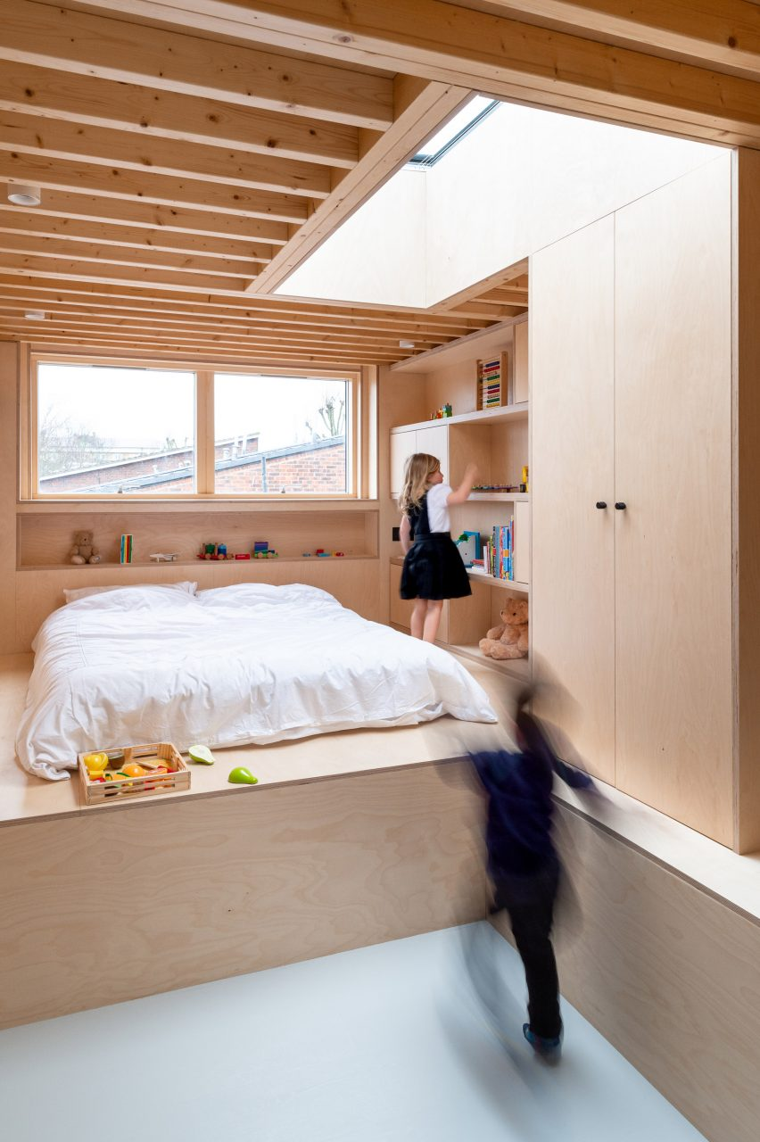 A timber-lined bedroom