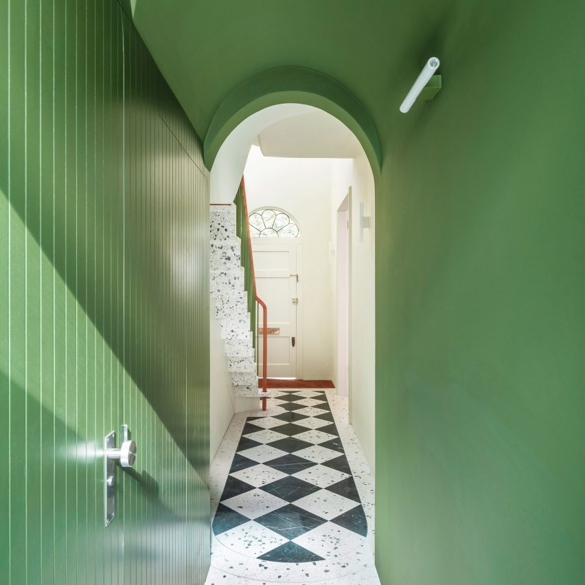 Gundry & Ducker gives White Rabbit House makeover with green hues and terrazzo
